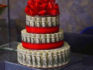 Dollar bill wedding cake
